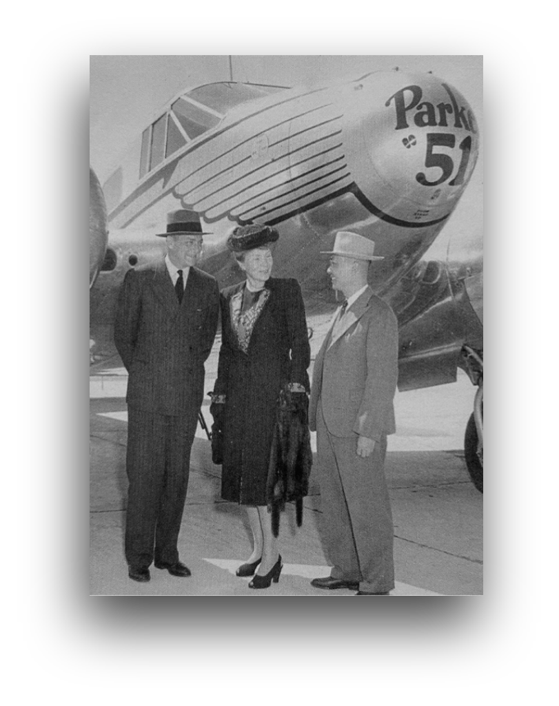 Historical photo of Kenneth Parker and a 'Parker 51' airplane