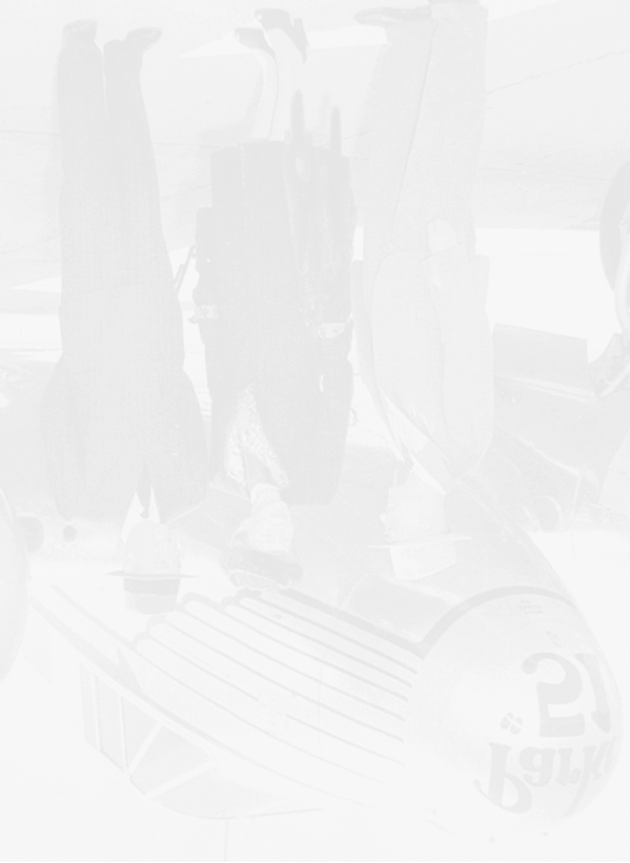 Historical photo of Kenneth Parker and a 'Parker 51' airplane reflection
