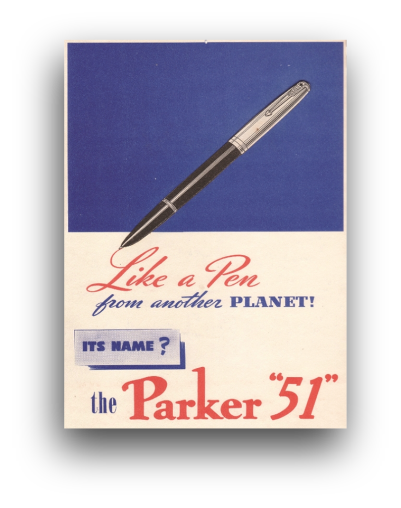 Historical 1940s graphic press advert for the original Parker 51