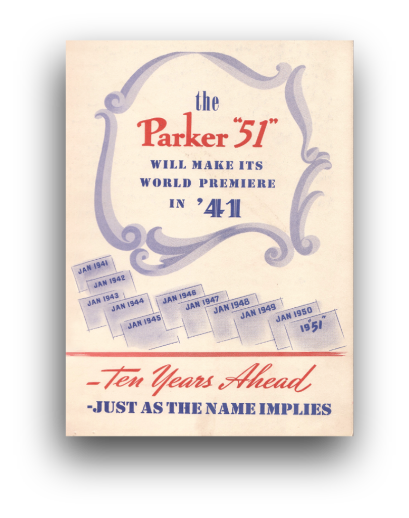 Historical graphic press advert from 1941 for the original Parker 51