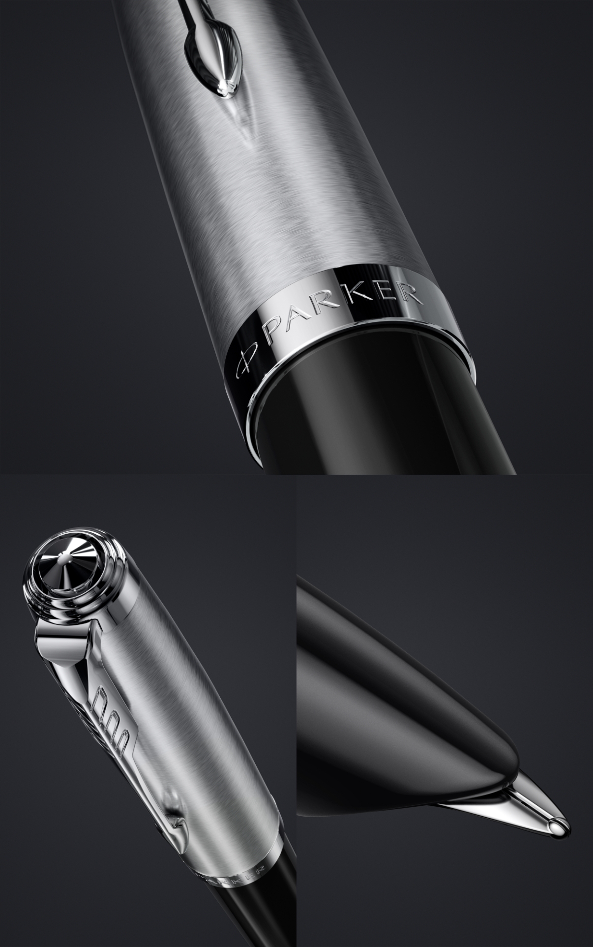 Black: The iconic hooded nib, stainless-steel, the barrel cap of Parker 51