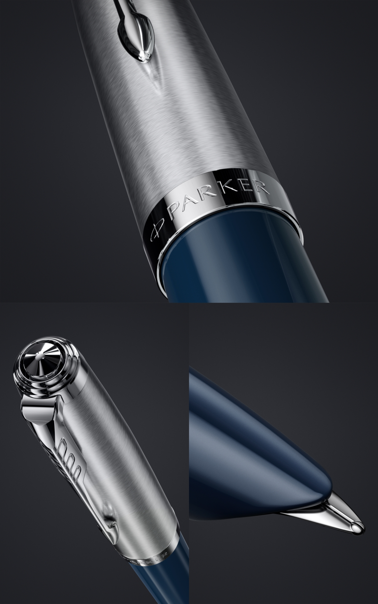 Midnight Blue: The iconic hooded nib, stainless-steel, the barrel cap of Parker 51