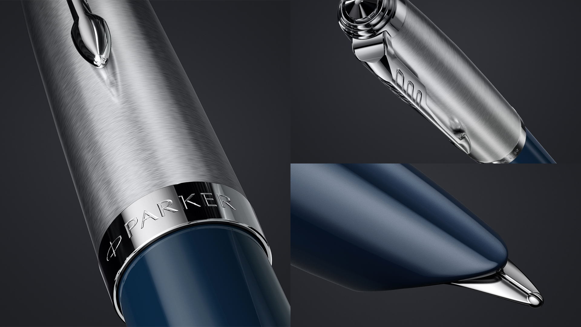 The iconic hooded nib of Parker 51 Midnight Blue