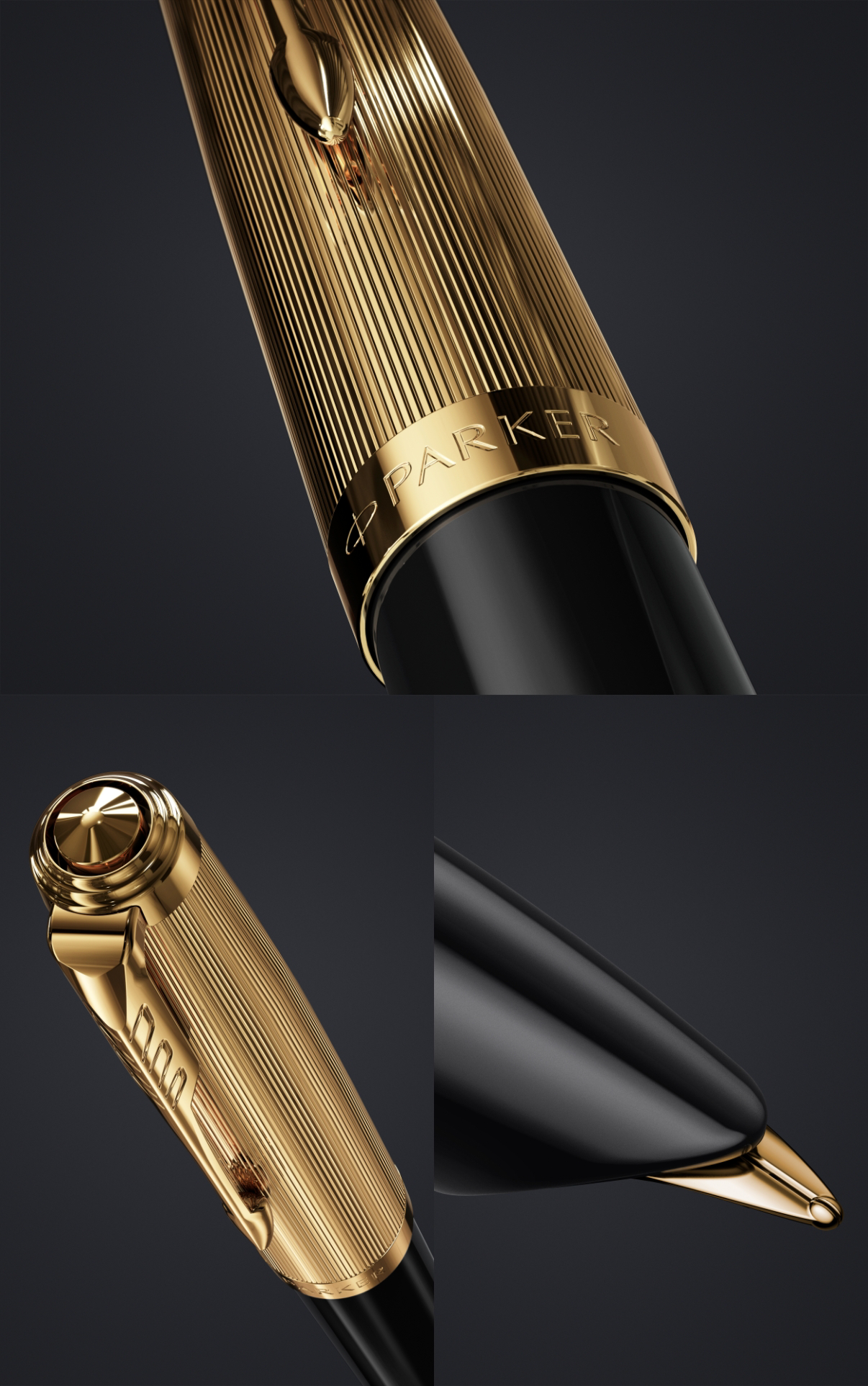 Deluxe Black : The iconic hooded nib, stainless-steel, the barrel cap of Parker 51