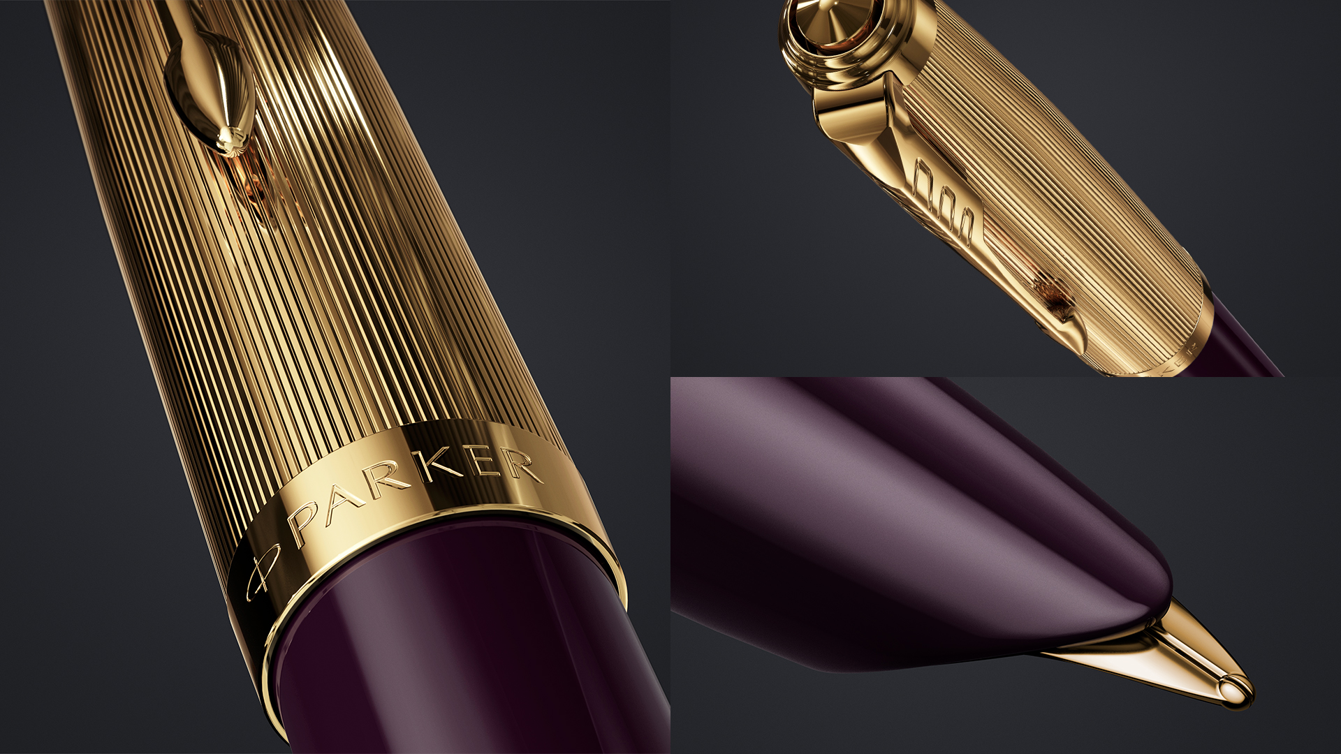 The iconic hooded nib of Parker 51 Deluxe Plum