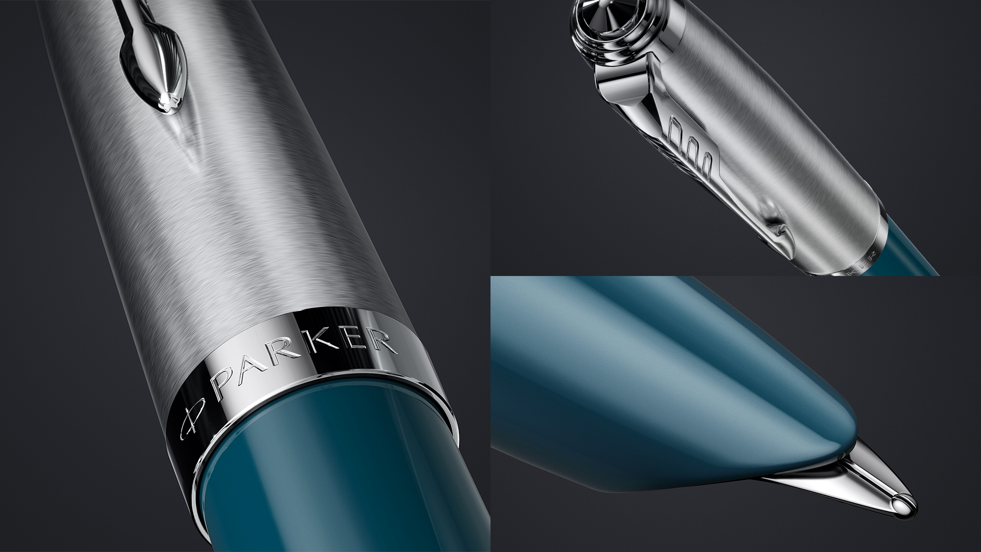 The iconic hooded nib of Parker 51 Teal Blue